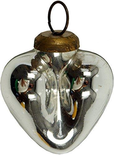 Guru-Shop Vintage Boomornamenten Klein Glazen Hartje in 2 Kleuren, Zilveren Kleuren, Kleur: Zilveren Kleuren, 8x7 cm, Kerstversieringen