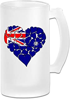 Australia Flag Heart Love Frosted Glass Stein Beer Mug - Personalized Custom Pub Mug - 16 Oz Beverage Mug - Gift For Your Favorite Beer Drinker