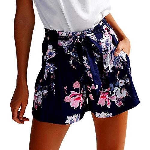 Lulupi Damen Sommer Shorts | Kurze Hose mit Schleife zum binden | Bermuda | Weich fließende Shorts mit Dunklem Blumenmuster Weite Hosen Baumwolle Kurze Hosen