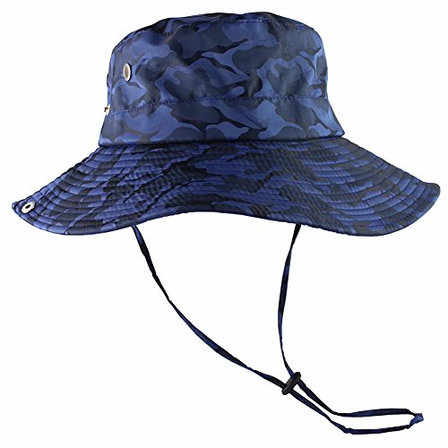 CAMOLAND Camouflage Outdoor Fishing Boonie Hat with Wide Brim UV Protection Summer Safari Sling Bucket Cap UPF 50+ (Blue)