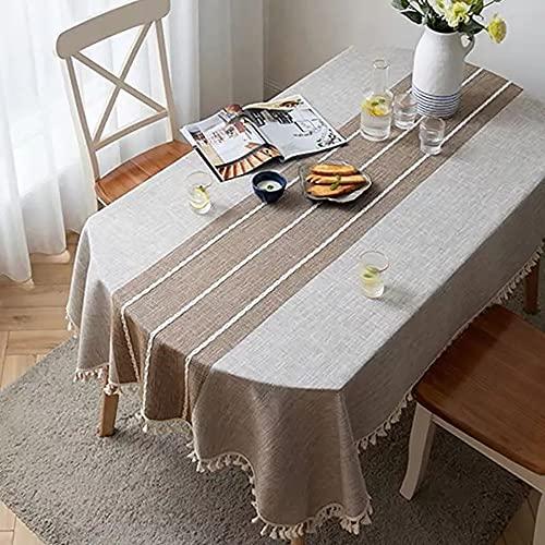 Mantel de Lino Decorativo a Cuadros con Borla Mantel Ovalado Impermeable Grueso Boda Comedor Té Sala de Estar Cubierta de Mesa para el hogar A 140x180cm