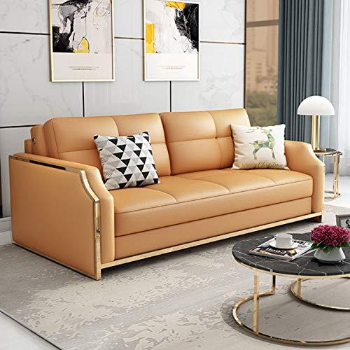 SND-A Premium Cabrio Sofa Futon Mit Platzsparenden Ablagefächern, Schlafsofa Couch Für Wohnzimmer, Ergonomisches Design, Faltbare Loveseat Sleeper Sofa Möbeldekoration,Orange,2.05M