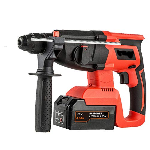 26Mm Hammer Drill, Brushless Rechargeable Electric Hammer Electric Drill Electric Pick 20V SDS Brushless Hammer Drill 3 Mode with 360°Rotating Handle,4.0ah,1 battery