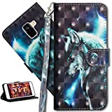 HMTECH Galaxy A5 2018 Case 3D Luxury Cute Wolf PU Leather