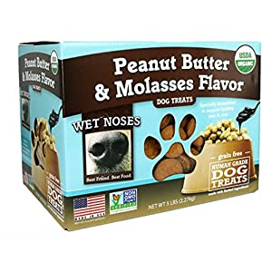 Wet Noses Organic Crunchy Dog Treats – for All Pet Sizes, Breeds – All-Natural Puppy Treat, Senior Dog Snack – 100% Human-Grade – Delicious Chews for Dogs – Grain-Free Peanut Butter & Molasses, 5 Lb