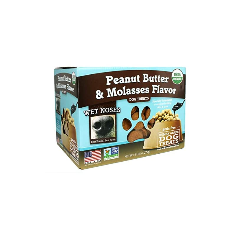 dog supplies online wet noses organic crunchy dog treats – for all pet sizes, breeds – all-natural puppy treat, senior dog snack – 100% human-grade – delicious chews for dogs – grain-free peanut butter & molasses, 5 lb