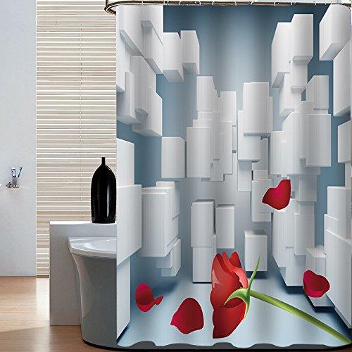 XZLWW douchegordijn, waterdicht, vormvast, douchegordijn, badkamer waterdicht, verdikkend gordijn in Europese stijl, douchegordijn, rozengordijn, douchegordijn, op maat