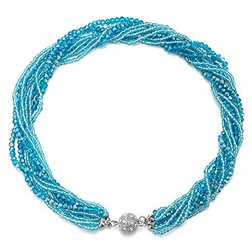 COOLSTEELANDBEYOND Blaugrün Blau Statement Anhänger Multi-Schichten Perlen Kristall Geflochtene Kette Halsband Choker Magnetverschluss