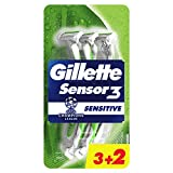 Gillette Sensor3 Sensitive - Cuchillas de afeitar para hombre, 5 unidades