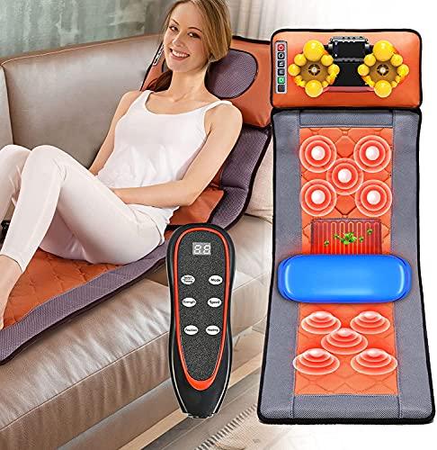 Kacsoo Tapis de Massage Chauffant, Coussin de massage électrique avec 10 moteurs Vibrants et 9 modes de vibration, Avec fonction de chronométrage pour soulager la douleur dans le dos et les jambes