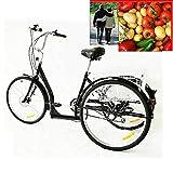 Aohuada - Triciclo manual para adultos de 26 pulgadas, 6 marchas, con cesta, color negro