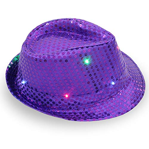 ddellk LED-jazz-hoed, knipperend, knipperend sequin-jazz-kap voor feest-kerstpodiums-performance-glut-hoed 58cm Adjustable paars