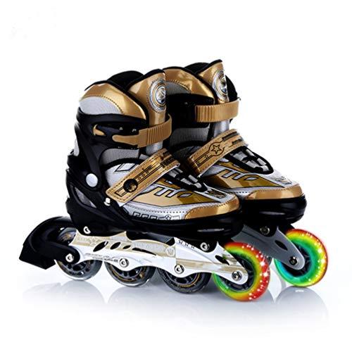 WTTO Rollschuhe, größenverstellbare Inline-Skates Mit leuchtenden Rädern Rollschuhe mädchen Atmungsaktives Leder Sind perfekt für Kinder, die Sport lieben,Gold_L-24-26.5cm