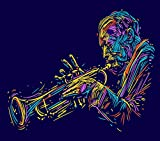 DIY 5D Diamond Painting Numbering Kit Jazz Trumpet Player Music Abstract Musician Instrument African Talent 16' X 20' Adult Children Rhinestone Cross Stitch Painting Kit for Home Decoration