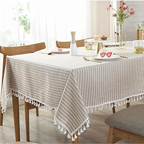 Mantel de Rayas Simple de algodón y Lino, Mantel Rectangular, Cubierta para el hogar, Dormitorio, Mesa de Centro, decoración para Sala de Estar, S 140x240cm