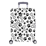 "InterestPrint Funny Dog Bone Paw Prints Travel Luggage Protector Suitcase Cover Fits 26""-28"" Luggage"