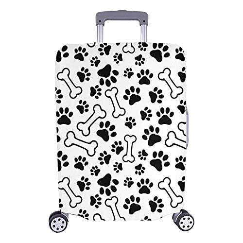 InterestPrint Funny Dog Bone Paw Prints Travel Luggage Protector Suitcase Cover Fits 26'-28' Luggage