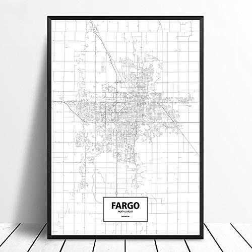 Drucken Malerei Bilder,Fargo, North Dakota, Usa Schwarz Weiß Benutzerdefinierte Welt Stadtplan Poster Leinwand Im Nordischen Stil Wall Art Home Decor, 50 × 70 Cm (19.68 X 27.55 Cm) Ohne Rahmen