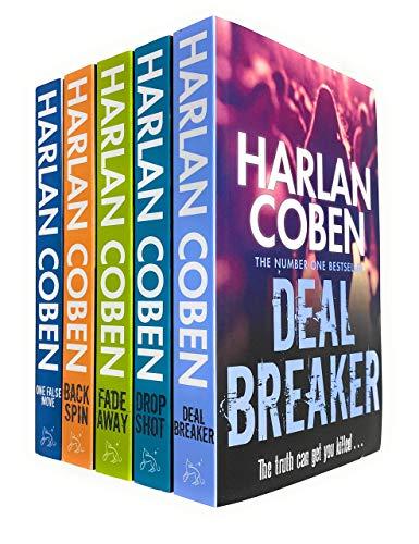 Myron Bolitar Series 5 Books Collection Set by Harlan Coben (Deal Breaker, Drop Shot, Fade Away, Back Spin & One False Move)