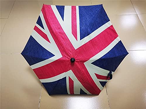 LONOVE Sombrilla universal UV para cochecitos y cochecitos, paraguas con clip en el cochecito, sombrilla con abrazadera de fijación ajustable, bandera británica, diámetro de 73 cm
