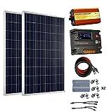 ECO-WORTHY 200 vatios (2 piezas 100 vatios) 12V Panel solar Kit + 20A Controlador de carga de la batería + 1000W Off Grid Power Inverter