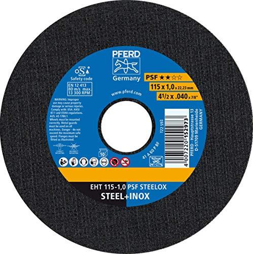 PFERD Trennscheibe, 10 Stück, 115 x 1,0 x 22,23 mm, gerade, PSF STEELOX, 61730110 – für Stahl und Edelstahl (INOX) mit hoher Trennleistung und guter Standzeit