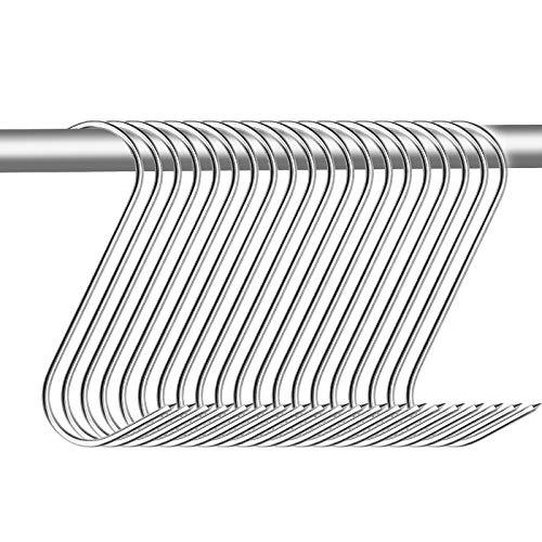 20 Piezas Ganchos de Carne de Acero Inoxidable, Ganchos de Forma de S con Punta Afilada para Colgar Carne Jamón Tocino - 15 cm de Largo, 4.5 cm