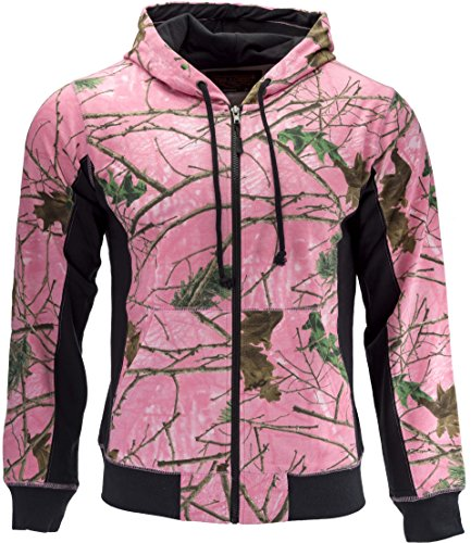 TrailCrest Women's Cambrillo Full Zip Up Hooded Sweatshirt Jacket, 2X, Pink camo