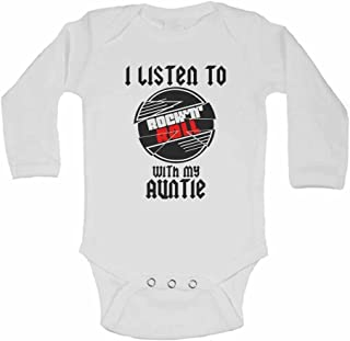 I Listen to Rock N Roll With My Auntie - Personalised Long Sleeve Baby Vests Bodysuits Baby Grows for Music Lover - Boys, Girls - White - 18-24 Months