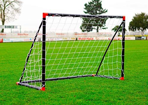 POWERSHOT Fußballtor Fun 1,8 x 1,2m aus wetterfestem uPVC Klicksystem und Zubehör (Schwarz/Rot)