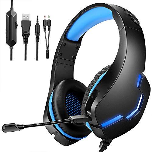 YOUPECK Auriculares Gaming para PS4/Xbox One/Nintendo Switch, Cascos Gaming con Sonido Envolvente y Cancelación de Ruido, Peso Ligero, Compatible con PC/Laptop (Adaptador Incluido), (Azul)