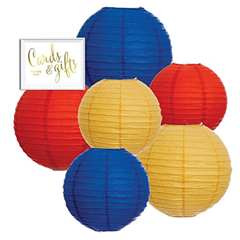Andaz Press Hanging Paper Lantern Party Decor Trio Kit with Gold Party Sign, Red, Yellow, Royal Blue, 6-Pack, For Kids 1st Birthday