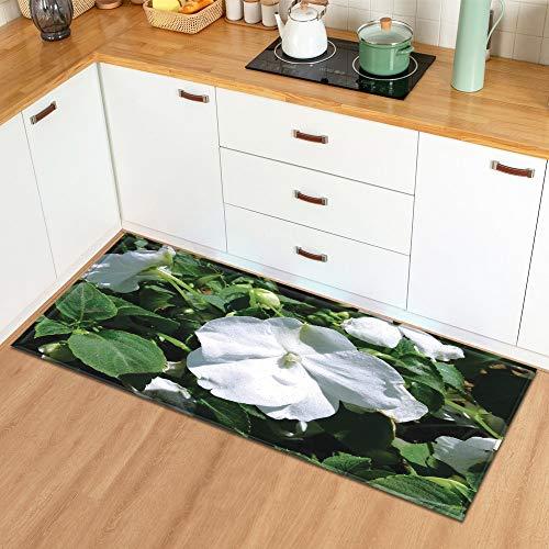 Alfombra en el baño Hogar Sala de Estar Cocina Alfombra Planta Flores Patrón Entrada Felpudo Dormitorio Pasillo Alfombra A19 40x120cm