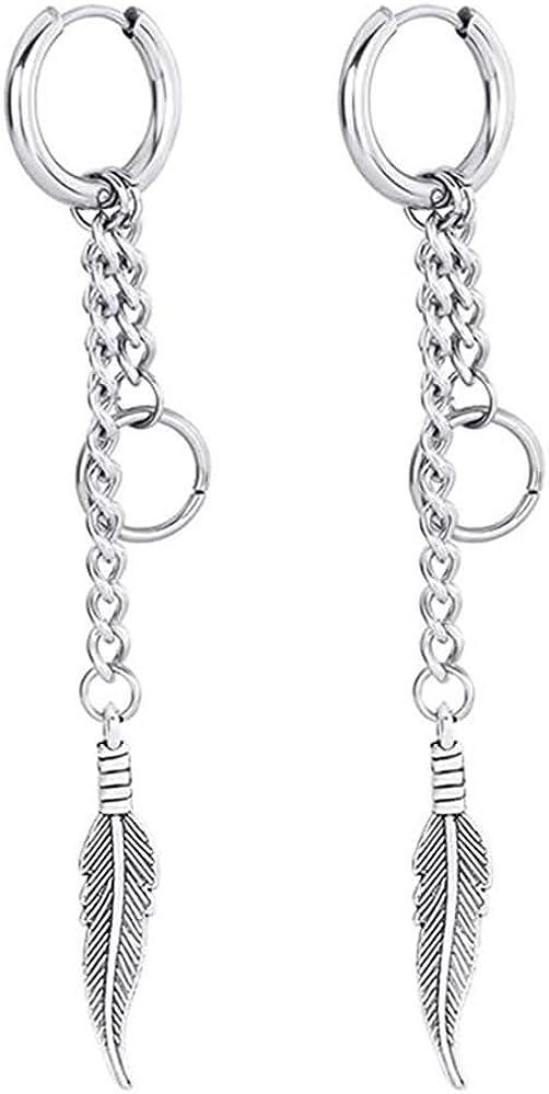 Blingsoul Long Chain Tree leaf Earrings - Korean Hinged Feather Drop Dangle Fashion Jewelry for Women Men