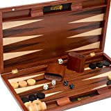 Gramercy Park Deluxe Wooden Walnut Backgammon Set 19 3/4'
