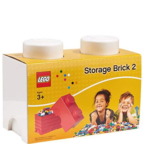 Petite brique de rangement empilable Blanc - Lego Décoration