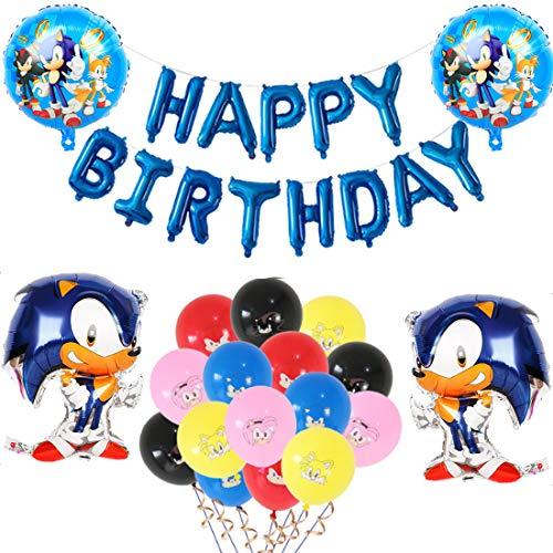 Sonic Foil Globos, Sonic The Hedgehog Party Supplies Juego de Decoración Sonic Erizo Frustrar Globo Bandera Set para Fiestas de Cumpleaños