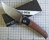 TwoSun Knives Linen Micarta Carbon Fiber Titanium Folding Flipper Knife TS301