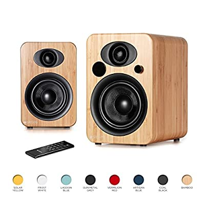 Steljes Audio NS3 Powered Loud Speakers Bookshelf Stereo System 45W RMS 60Hz to 20kHz British Design Connect RCA, 3.5mm Stereo, Optical, Bluetooth, with Built-in Subwoofer USB Charge (Bamboo) by Steljes