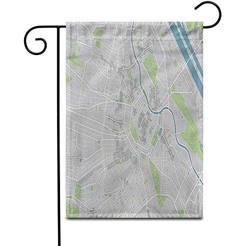Garden Flag Mapa De La Ciudad Marrón De Viena Capas Separadas Bien Organizadas Decoración Para El Hogar Gris Bandera De Doble Cara Patio Jardín Al Aire Libre Banderas De La Yarda Banderas Césped