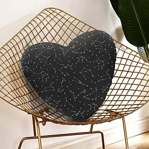 Almohadas de decoración para adolescentes Todos los doce signos del zodíaco en la constelación Almohada de corazón personalizada 13.78 X 13.78 pulgadas Cojín en forma de corazón Regalo para amigos /
