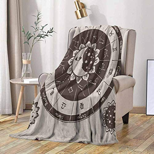 RenteriaDecor Constellation Camping Blanket Zodiac Signs Circle with Sun and Moon Floral Design Ancient Astrology 50x70 Inch Super Cozy and Comfy for All Seasons