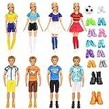 Miunana 19 Accessori per 11.5 Pollici 28 - 30 CM Bambola Ragazzo E Ragazza: 4 Abiti da Cheerleader + 6 PCS Scarpe per Barbie + 4 Abiti Vestiti + 4 PCS Scarpe per Ken + Calcio