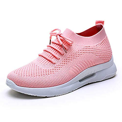 LJFZMD Deporte Sneakers, Zapatillas Running Zapatos ligeros para caminar para mujer, zapatillas con cordones para mujer, zapatillas deportivas transpirables, atléticas,Rosado,EU37