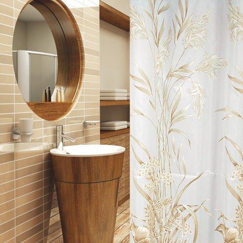 KS Handel 24 Textil DUSCHVORHANG Hellbraun Weiss 240x180 INKL. QUALITÄTSRINGE 240 x 180! Shower Curtain Light Brown, White!