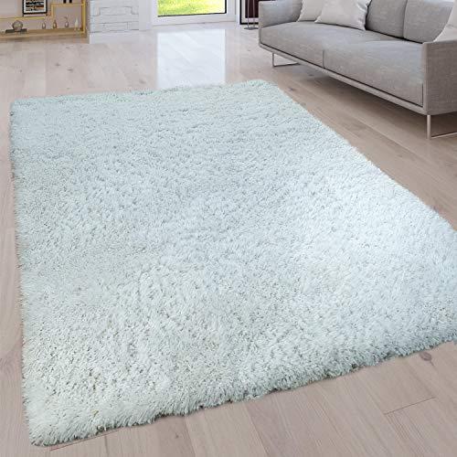 Paco Home Hochflor Wohnzimmer Teppich Waschbar Shaggy Uni In Versch. Größen u. Farben, Grösse:80x150 cm, Farbe:Ivory (Creme)