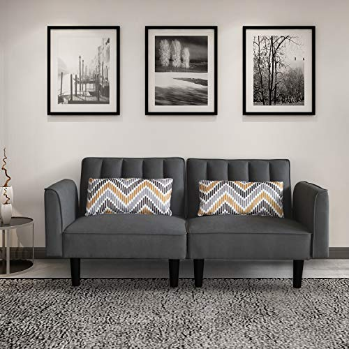 AILEEKISS Modern Loveseat Sofa with Pillows Linen Fabric Couch with Armrest 2-seat Sofa for Living Room Sofa Bed for Small Space (Two-Seater, Dark Grey)