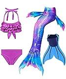 shepretty Traje de Baño de La Cola Sirena de Las Muchachas Bikini Set para Nadar Traje de Sirena,Dh22,110