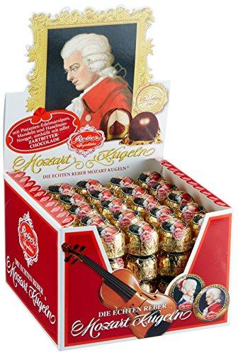 Reber Echte Reber Mozart-Kugeln, Pralinen aus Zartbitter-Schokolade, Marzipan, Nougat, Tolles Geschenk, 100er-Aufstellkarton