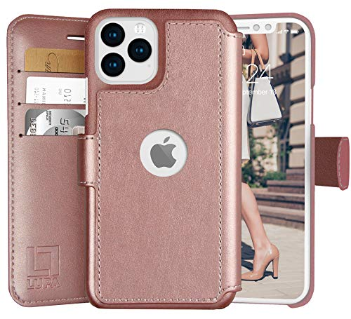 LUPA iPhone 12 Pro Max Wallet Case -Slim iPhone 12 Pro Max Flip Case with Credit Card Holder, for Women & Men, Faux Leather iPhone 12 Pro Max Purse Cases with Magnetic Closure, Rose Gold